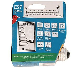 Auchan Bombilla ecohalógena esférica 46W, casquillo E27 (grueso), luz cálida 1 unidad