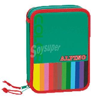 Plumier pequeño, conteniendo lápices, rotuladores, accesorios escolares