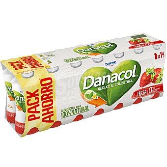 Danacol Danone Yogur líquido sabor fresa 0% Pack 14 u x 100 g