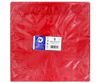 NV CORPORACION Platos Harmony rojo 23X23cm 8 Unidades