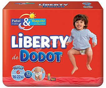 Dodot Liberty Bragapañal Liberty 16-22 kg Talla 6 Paquete 32 unid