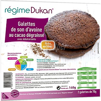 RÉGIME DUKAN Tortitas de salvado de avena y chocolate envase 280 g 2x70 g