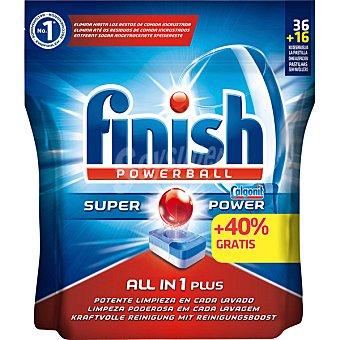 Finish Calgonit detergente lavavajillas Power Ball todo en 1 accion efervescente bolsa 36 pastillas Bolsa 36 pastillas