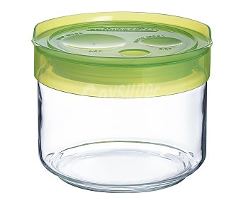Luminarc Tarro para conservación de alimentos fabricado en vidrio con tapa de plástico color verde, cierre hermético, 0,5 litros de capacidad 0,5 L