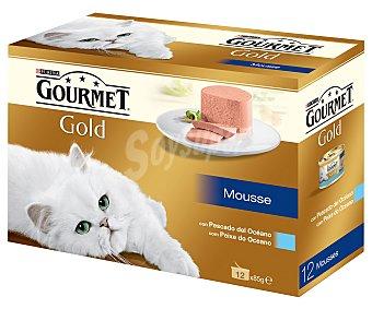 Gourmet Purina Camida para gatos mousse pescado Gold 12 Unidades de 85 Gramos