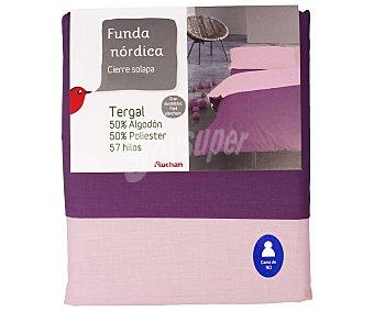 Auchan Funda nórdica color morado bicolor para cama de 90 centimetros 1 unidad