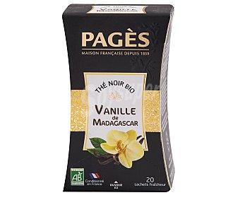 PAGÉS Té negro con vainilla de Madagascar ecológico, 20 bolsitas, 36 gramos