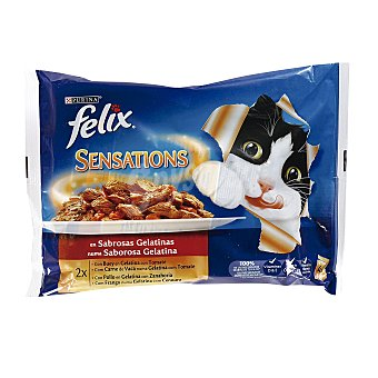 Felix Purina Sensations de buey-pollo Pack 4x100 g