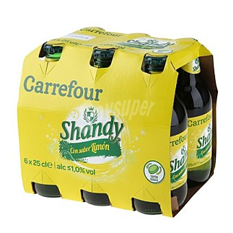 Carrefour Cerveza Shandy con sabor limón Pack 6x25 cl