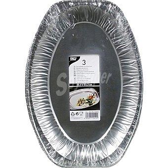 Papstar Bandeja de aluminio ovalada 333x233 cm Paquete 3 unidades