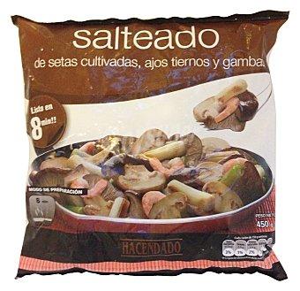 Hacendado Salteado setas (setas, champiñon, ajos tiernos y gambas) congelado Paquete 450 g
