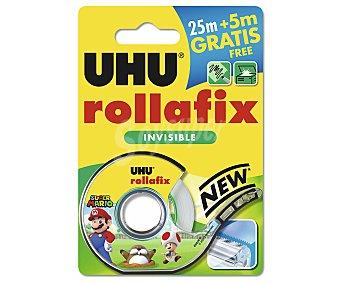 UHU Rollo de 25 m de cinta adhesiva invisible de 19 mm de ancho + dispensador UHU