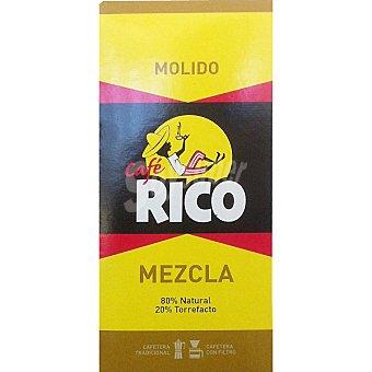 Rico Café Molido Mezcla - 80% Natural 20% Torrefacto Paquete 250 g