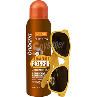 BABARIA Spray bronceador expres ultra uniforme + gafas de sol spray de 200 ml