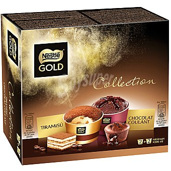 Gold Nestlé minicups de tiramisú y 2 x 100 ml chocolat coulant 2 x 100 ml