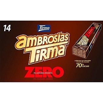 Tirma Ambrosias Zero galletas de barquillo recubiertas de chocolate con 70% cacao 0% azúcares añadidos 14 unidades 308 g