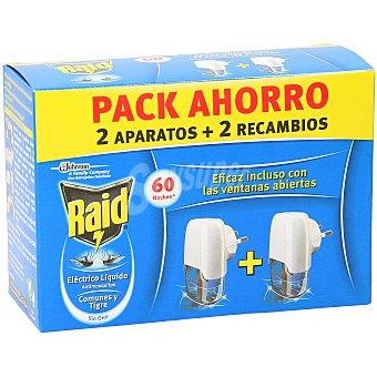 Raid Insecticida eléctrico líquido antimosquitos Caja 2 u (2 aparatos + 2 recambios)