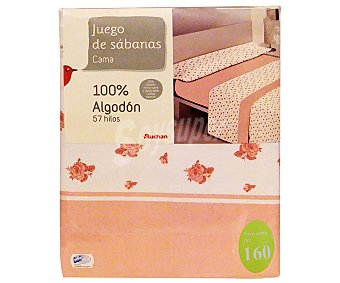 Auchan Juego de sábanas para cama de 160 centímetros, estampado con flores en tonos rosas, modelo Barbara 1 unidad