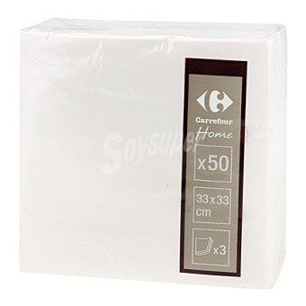 Carrefour Servilletas 33x33 cm 3 capas blancas 50 ud