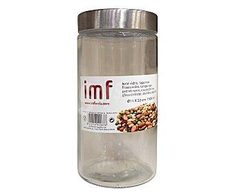 IMF Bote de cristal con tapa de acero inoxidable, 11x22 centímetros, de capacidad IMF 1,5 litro