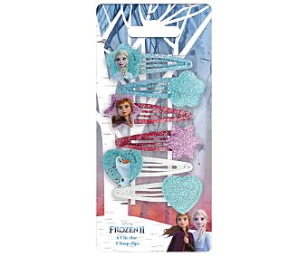 FROZEN 2 Pinzas metálicas tipo clic clac con diseño de los personajes de la película 6 uds