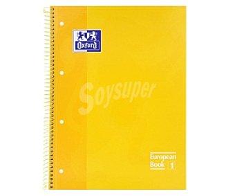 Oxford Cuaderno DIN A4 con cuadricula de 5x5 milímetros, margen izquierdo, 80 hojas de 90 gramos, tapas extraduras de color amarillo y microperforado con encuadernación con espiral metálica 1 unidad
