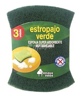 Bosque Verde Estropajo esponja verde Pack 3 u
