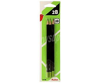Auchan Lote de 3 lápices de grafito, con cuerpo de color negro y dureza 2B auchan 3u