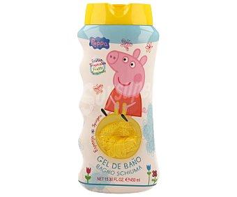 PEPPA PIG Gel de baño con aroma frutas tropicales más esponja 450 ml