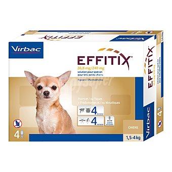 Virbac Effitix solución antiparasitaria para perros de tamaño pequeños de 1,5 a 4 kg Envase 4 unidades