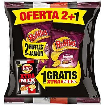 RUFFLES patatas fritas onduladas al jamón con regalo de bolsa de 140 g de al punto de sal pack 2 bolsa 170 g