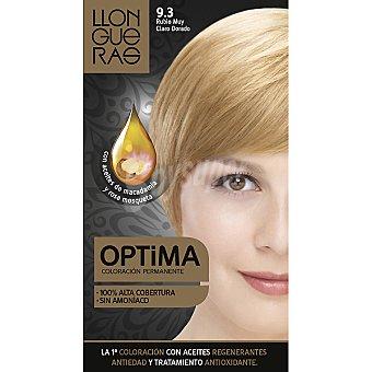 Llongueras tinte Optima rubio muy claro dorado nº 9.3 coloración con aceites regenerantes anti-edad  caja 1 unidad