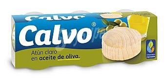 Calvo Atún claro en aceite de oliva Pack 3 x 52 g peso neto escurrido