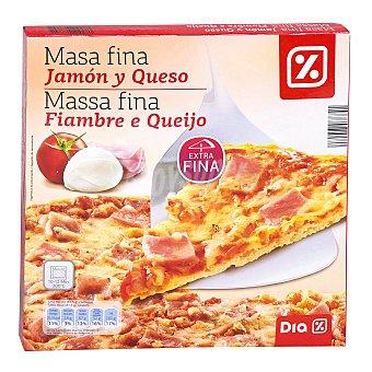 DIA Pizza masa fina jamón y queso caja 350 gr 350 gr