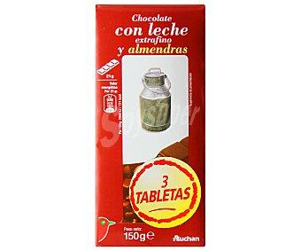 Auchan Chocolate con leche y almendras extrafino 3 uds. de 150 gr