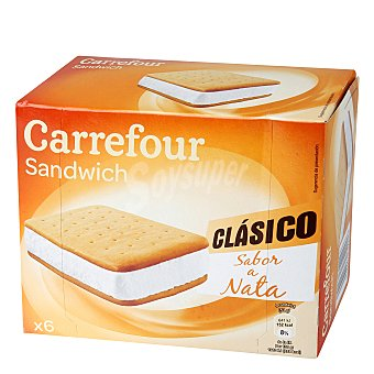 Carrefour Helado sandwih de nata 6 ud