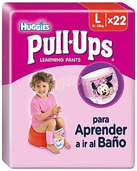 HUGGIES PULL UPS braguita de aprendizaje para niña talla 6 - 16-23 kg 22 unidades