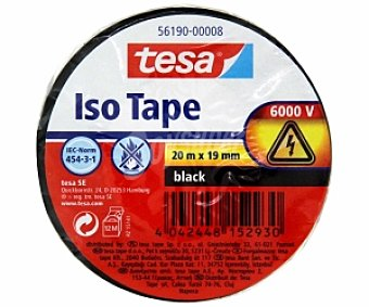 Tesa Cinta Aislante de color negro PVC 20mx19mm 1 Unidad