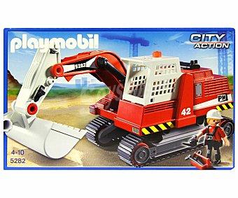PLAYMOBIL Playset City Action, Excavadora de construcción, incluye 1 figura, modelo 5282 City A. Excavadora