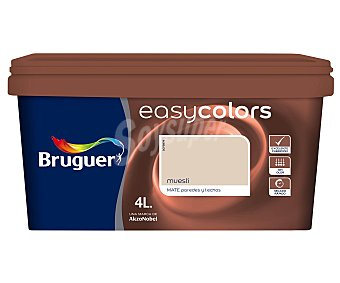 Bruguer Pintura Decorativa Acrílica, Color Marrón Muesli, Easy Colors 4 Litros