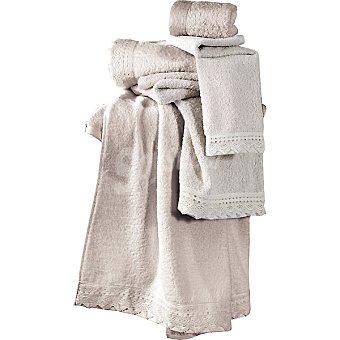 CASACTUAL Seda toalla tocador color crudo con puntilla