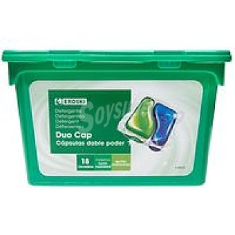 Eroski Detergente en cápsulas duo Caja 18 dosis