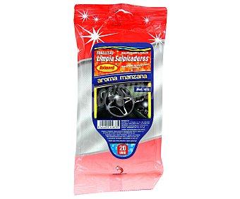 ROLMOVIL Paquete de 20 toallitas limpiadoras de salpicaderos con olor a manzana 1 unidad