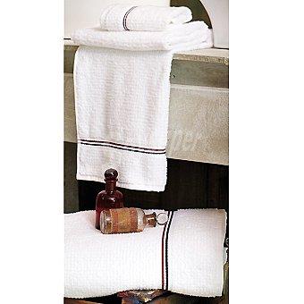 CASACTUAL Málaga toalla jacquard de tocador en blanco con cenefa azul y roja