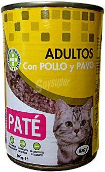 Lucy Comida gato adultos pate pollo pavo Bote 400 g