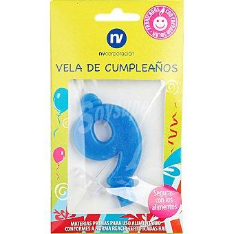 NV. Vela de cumpleaños color azul nº 9 blister 1 unidad