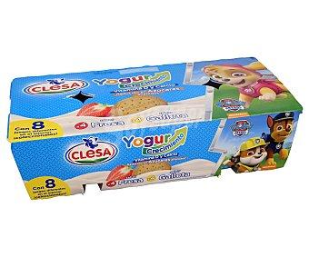 Clesa Yogures de sabores variados (4 fresa y 4 galleta) Paquete 8 envases x 120 g