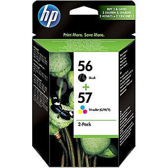 HP Nº 56 + 57 cartuchos: color negro y tricolor Pack de 2