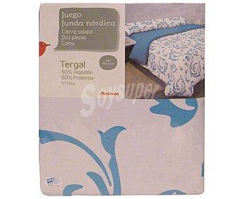 Auchan Juego de funda con cierre de solapa para edredón nórdico de 150 centímetros más funda para almohada, estampado ornamental de tonos turquesas, modelo Robledo, 1 unidad