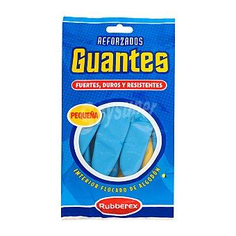 Rubberex Guantes reforzado azul y amarillo talla pequeña Paquete 2 unidades